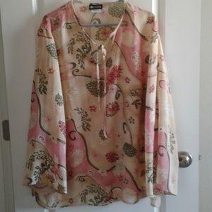 Maggie Barnes blouse sz 24W sheer floral